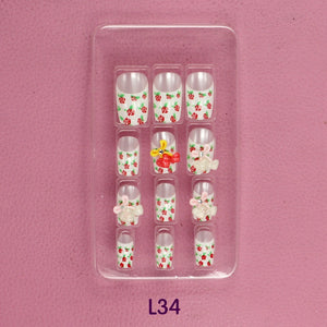 Rose Cherry 3D carved Manicure tablets bling False nail Bride Manicure tablets nail stickers bradawl nail painting L34