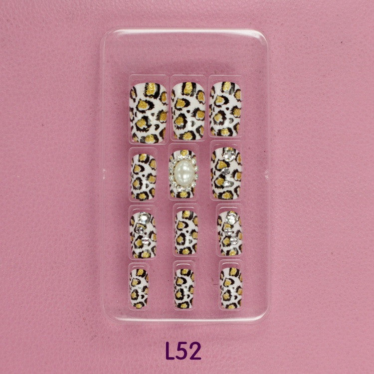 Leopard 3D carved Manicure tablets Pearl False nail Bride Manicure tablets nail stickers bradawl nail painting L52