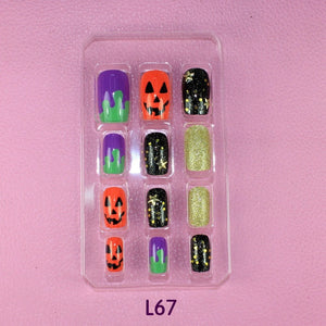 Halloween Glitter 3D carved Manicure tablets False nail Wave Pearl diamond Bride Manicure tablets nail stickers bradawl nail painting L67