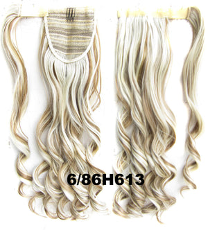 Ponytail Hair Extension Heat Proof Synthetic Wrap Around Invisable Long wavy Velcro Ponytail Hair Extension Clip In on Hair Pony Tail,Wig Hairpiece,woman wigs,wig hairs,Bath & Beauty,Accessories BIP-888 6/86H613