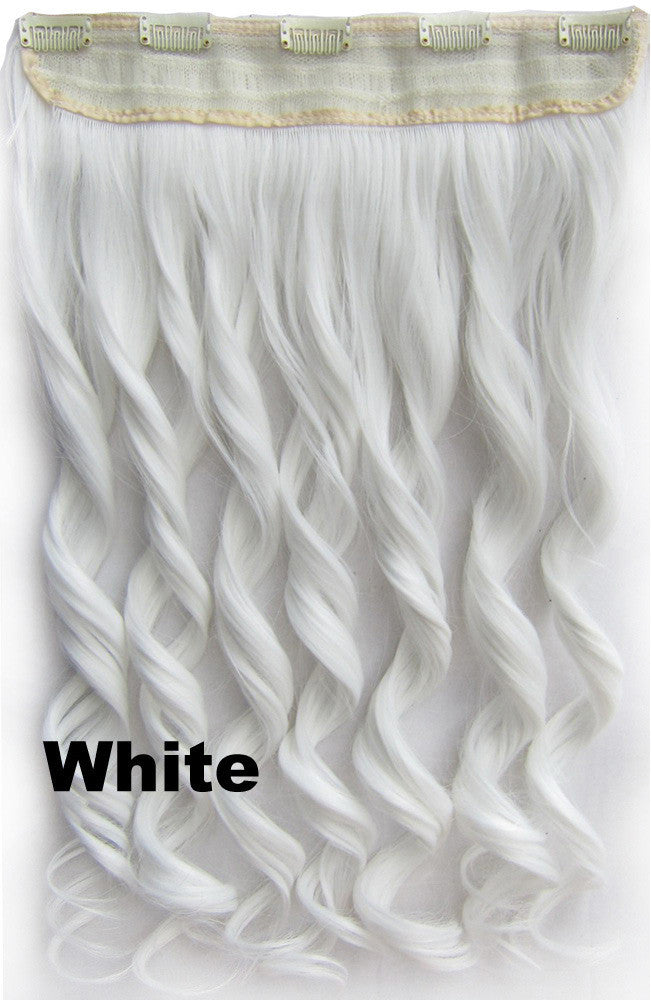 White Ombre Colorful Candy 5 Clip In Hair Extensions Body Wave