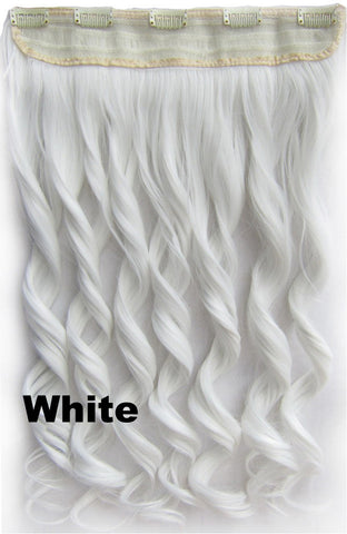 White Ombre Colorful Candy 5 Clip in Hair Extensions Body Wave Texture Hair Synthetic Hair Extension, High Quality Wig