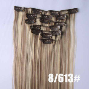 8/613# Bath&Beauty clip in synthetic hair extensions 7pcs/set,90grams hairpieces clip in hair 7pcs Straight hair,curly hairpiece,Hair Care,fashion COSPLAY ombre 1PCS