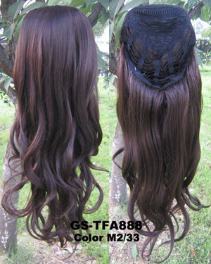 "HOT 3/4 Half Long Curly Wavy Wig Heat Resistant Synthetic Wig Hair 200g 24"" Highlighted Curly Wig Hairpieces with Comb Wig Hair GS-TFA888 M2/33"