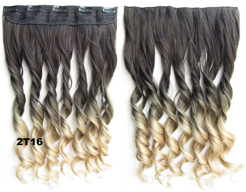 Dip dye hairpieces Gradient wig Bath & Beauty 5 Clip in synthetic Dyeing hair extension hairpieces wavy slice curly hairpiece GS-888 2T16,Hair Care,fashion Cosplay ombre 1PCS