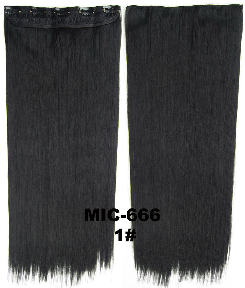 Hair Extension,wig,Clip in synthetic hair extension,5 clips ponytail,Heat resistance synthetic fibre,MIC-666 1#, 100 g 24