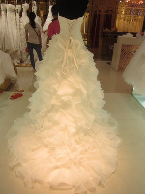 Bling sexy style Korean wedding dress of the Ladies white wedding dress Organza Sweetheart Ruffle Bridal Gown 44745 SL-7070