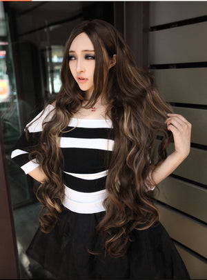 100 Cm fashion queen hair Manic Panic Lace Front Curly Wigs Long Blue Highlights Flaxen Parted bangs Blonde Hair Synthetic Wigs European Femme Anime Cosplay Wigs