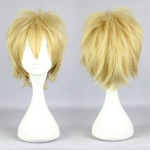 2014 New Wolf Girl Black Prince Kyoya Sata 30cm Short Light Yellow Blonde Man Anime Wig,Colorful Candy Colored synthetic Hair Extension Hair piece 1pcs WIG-563B