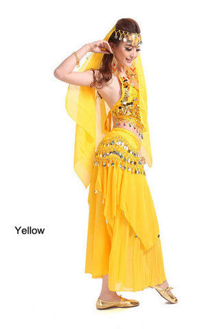 2014 new belly dance India dance costume suits performing service upscale exercise suits T007-Yellow
