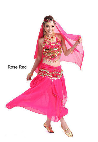 2014 new belly dance India dance costume suits performing service upscale exercise suits T007-Rose Red