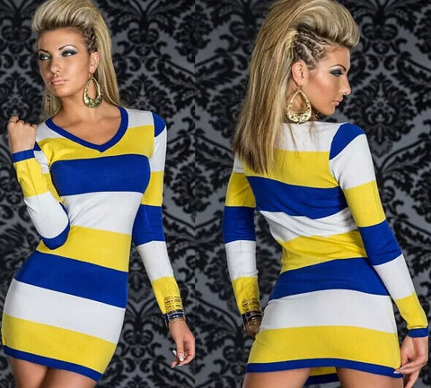 Supply Long Sleeve V-neck Bodycon Dress Contrast Color Sexy Striped Bandage Dress Women Casual Wear Dresses N095 Yellow-Blue