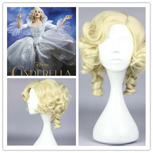 2015 New Desiny Movie Cinderella fairy godmothe Beautiful lolita wig Anime Wig synthetic short gold cosplay wigs,Colorful Candy Colored synthetic Hair Extension Hair piece 1pcs WIG-016G