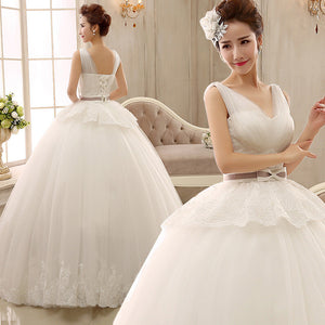 Bow white Spring Wedding dress new 2015 Korean Fashion Shoulder V collar thin waist Bandage Dress 19244125