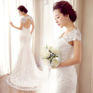 2015 Elegant Mermaid Lace Plus Size Wedding Dresses With Capped Sleeve crystal Appliques V Neck Custom Made Long Vintage Bridal Gowns 1924412514