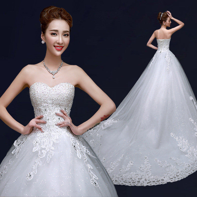 The spring and summer of 2015 luxurious Korean thin bra major suit slim bride long tailed dress  Wedding dress 19241247