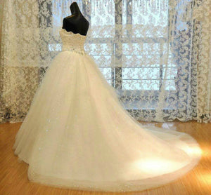 2015 Couture Ball Gown Elegant Wedding Dress Lace Bridal Gowns Tulle With Sequins Ball Gown Wedding Dresses Strapless Applique Beaded Bridal Wedding 1924425478