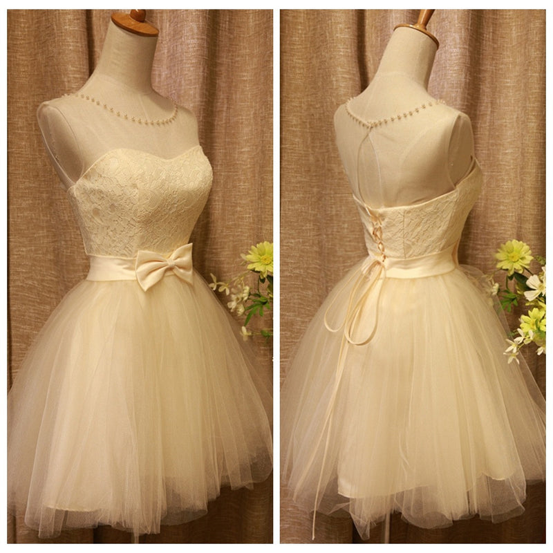 2015 New Fashion Bow Soft Lace Ball Gown Prom Dress Sweetheart Princess Knee-length Tank Birthday Party Dress Sexy Pink Short Prom Evening Dress Bridal Gown Vestido De Novia 1422145