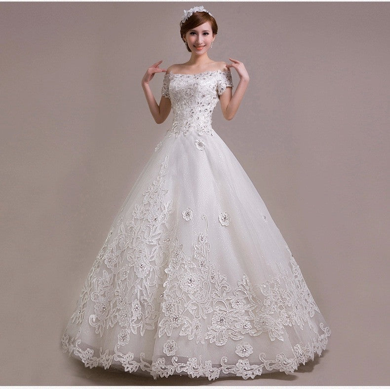 Off Shoulder Short Sleeves Bridal Wedding Gown Tulle Applique Ball