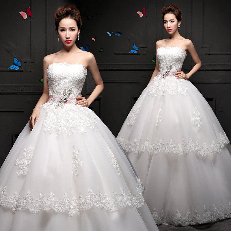 2015 spring and summer wedding dress new Korean Rhinestones slim slim size bra dress simple Qi 19244512441