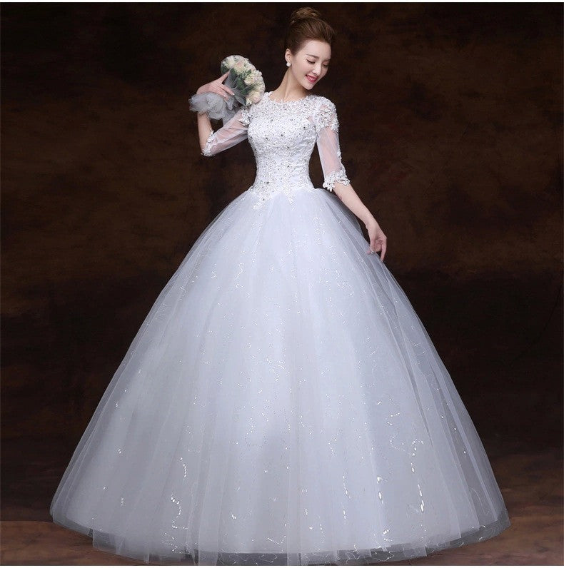Ball Gown Wedding Dresses 34 Sleeves Wedding Dress Gowns For