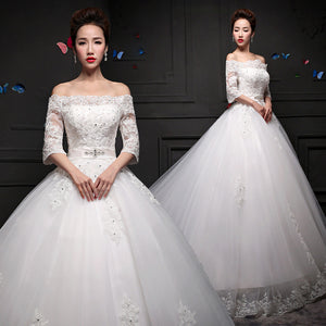 2015 new spring fashion a long sleeved shoulder long tail  lace wedding dress bride wedding Couture Ball Gown Elegant Wedding Dress 24124541