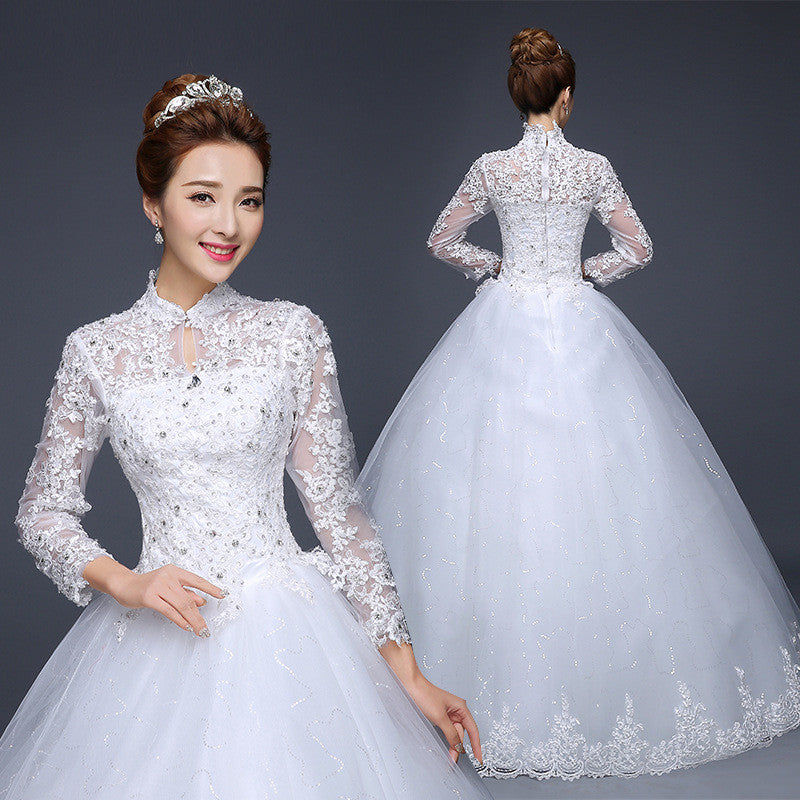 2015 Korean spring new bride lace wedding dress Long sleeve slim wedding dress 192412154