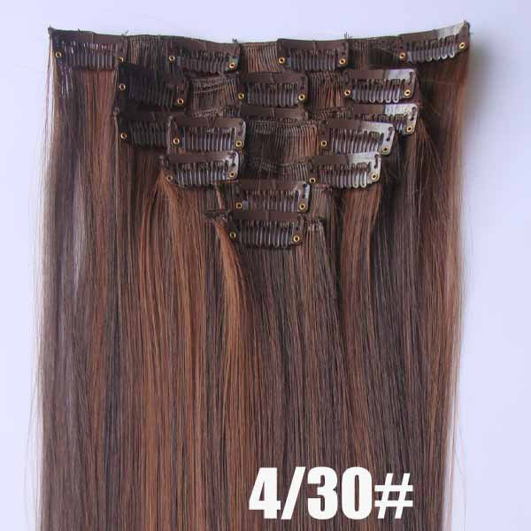 4/30# Bath&Beauty clip in synthetic hair extensions 7pcs/set,90grams hairpieces clip in hair 7pcs Straight hair,curly hairpiece,Hair Care,fashion COSPLAY ombre 1PCS
