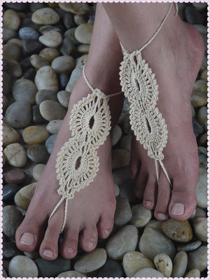 Beach wedding White Crochet wedding Barefoot Sandals,Nude shoes,Foot jewelry,Bridal,Victorian Lace,Sexy,Yoga,Anklet HL0126