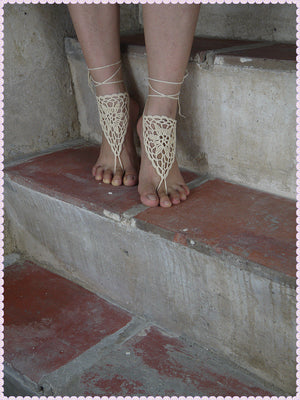 Wedding Crochet Barefoot Sandals,Lace shoes,Foot jewelry,Sexy,Yoga,Dreamcatcher Barefoot Sandles HL0124