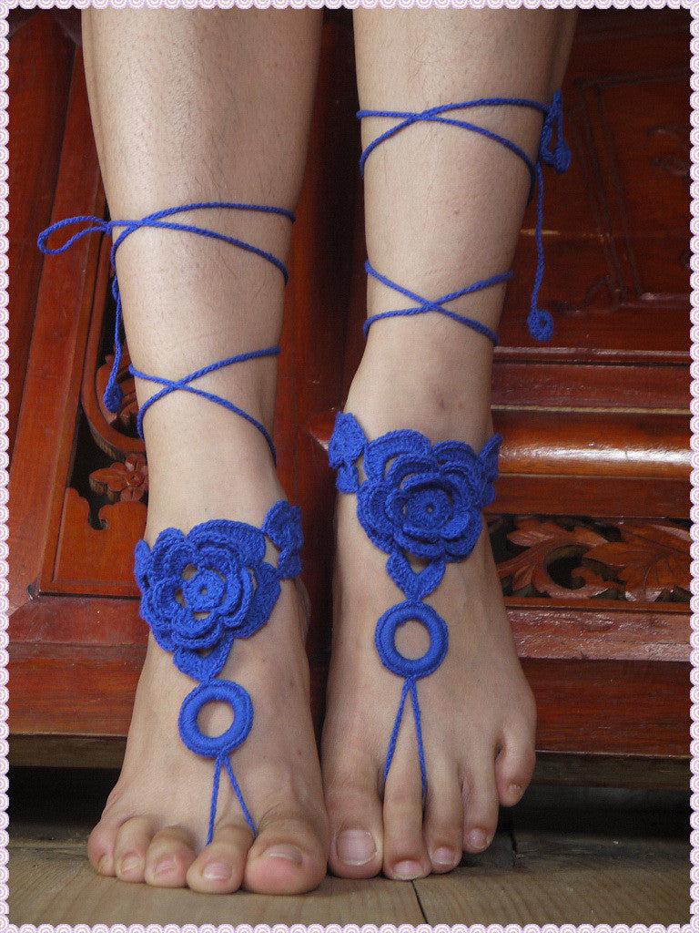 Bridal Bridesmaid Crochet Barefoot Sandals,Wedding foot jewelry,3D Crochet Applique shoes,Victorian Lace,Sexy,Yoga,Anklet HL0137