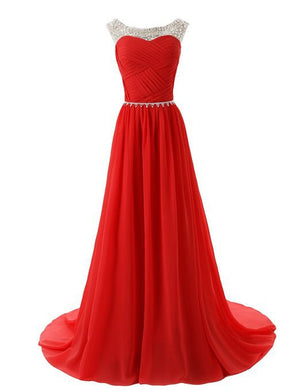 2015 Evening Dresses A Line Sleeveless Floor length Dress star Chiffon Zipper Up dress Long Bridesmaid Dress Beading Ball Gown-Red 142214124 SD184