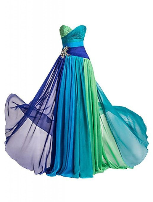 2015 Fashion Sexy Gradient Chiffon Spell Color Sweetheart Long Evening Dress peacock colored bridesmaid dresses Lace-up Bride Prom Dress Plus Size Formal Dresses 212484