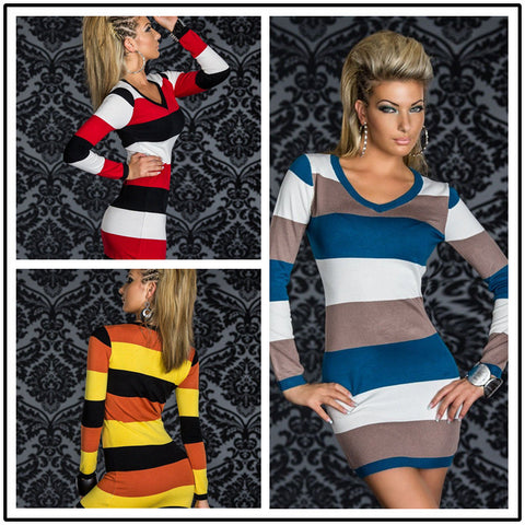 Supply Long Sleeve V-neck Bodycon Dress Contrast Color Sexy Striped Bandage Dress Women Casual Wear Dresses N095 5 colors