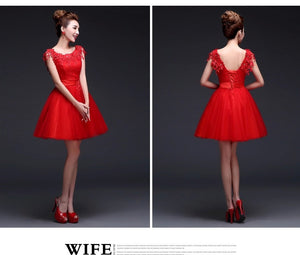 2015 new summer spring clothes lace flower bride wedding dress fashion red short party dress evening dress 3785664