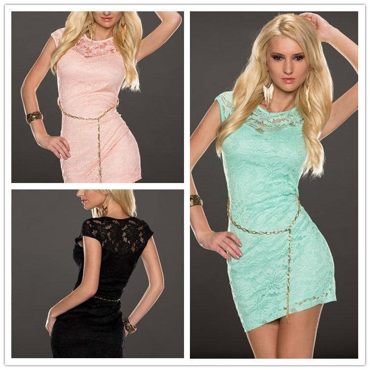 Sexy Slim Package Hip Lace Dress Multicolor Optional Summer Style Sexy Short Sleeveless Bodycon Club Wear Dresses N189 Sundress
