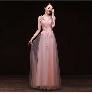 Pink Cap Sleeve Appliqued Accented Gown Dress Bateau V-neck Long Pink Prom Dresses Sleeveless bride dress evening dress spring summer party dress 45593345