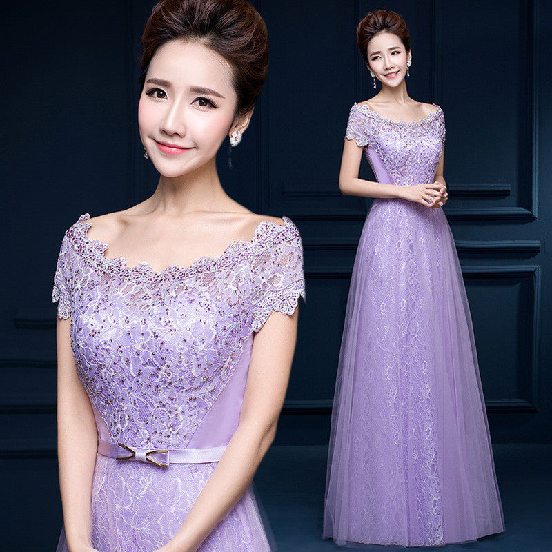 New Long Formal Purple Lavender Long Bridesmaid Dresses Wedding