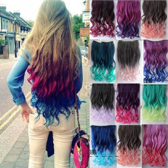 24 Colors Women Two Tone Ombre Hair Highlights Curly Hair Colorful