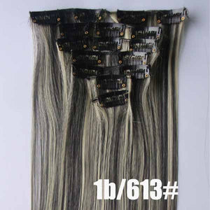 1b/613# Bath&Beauty clip in synthetic hair extensions 7pcs/set,90grams hairpieces clip in hair 7pcs Straight hair,curly hairpiece,Hair Care,fashion COSPLAY ombre 1PCS