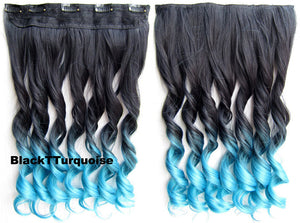 Dip dye hairpieces Gradient wig Bath & Beauty 5 Clip in synthetic Dyeing hair extension hairpieces wavy slice curly hairpiece GS-888 Black T Turquoise,Hair Care,fashion Cosplay ombre 1PCS