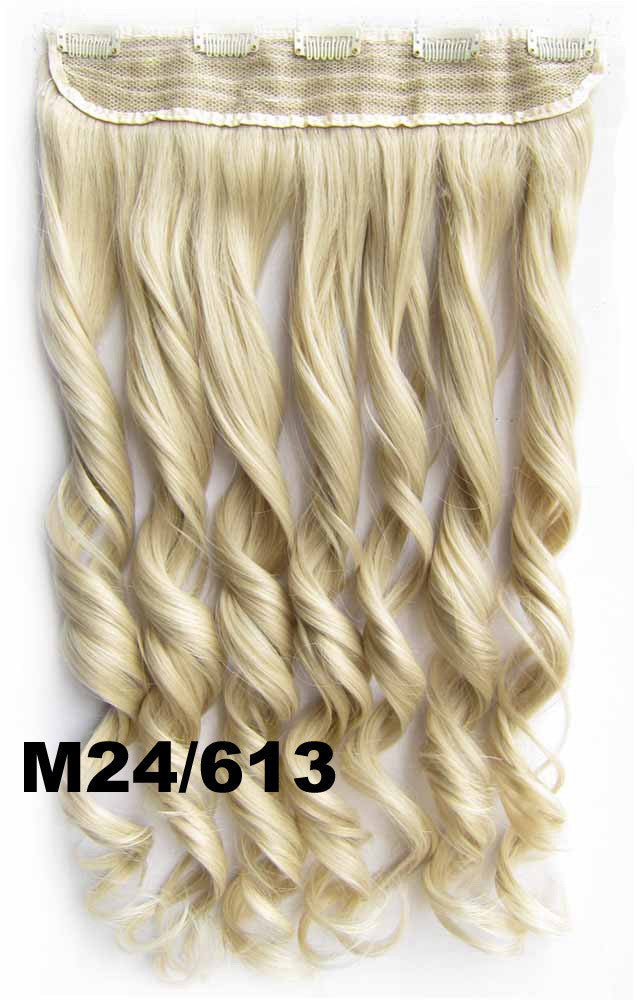 Bath&Beauty Clip in synthetic hair extension hairpieces 5 clips in on wavy slice curly hairpiece GS-888 M24/613,Hair Care,fashion COSPLAY ombre 1PCS