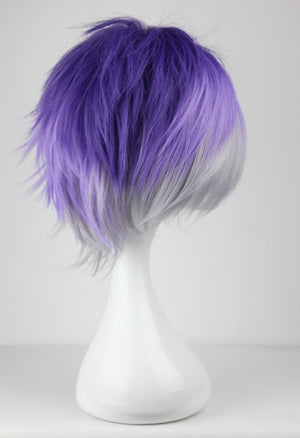 Cosplay Costume Wigs Diabolik Lovers Sakamaki Kanato Short Party Hair 32cm Gradient Purple,Colorful Candy Colored synthetic Hair Extension Hair piece 1pcs WIG-199B