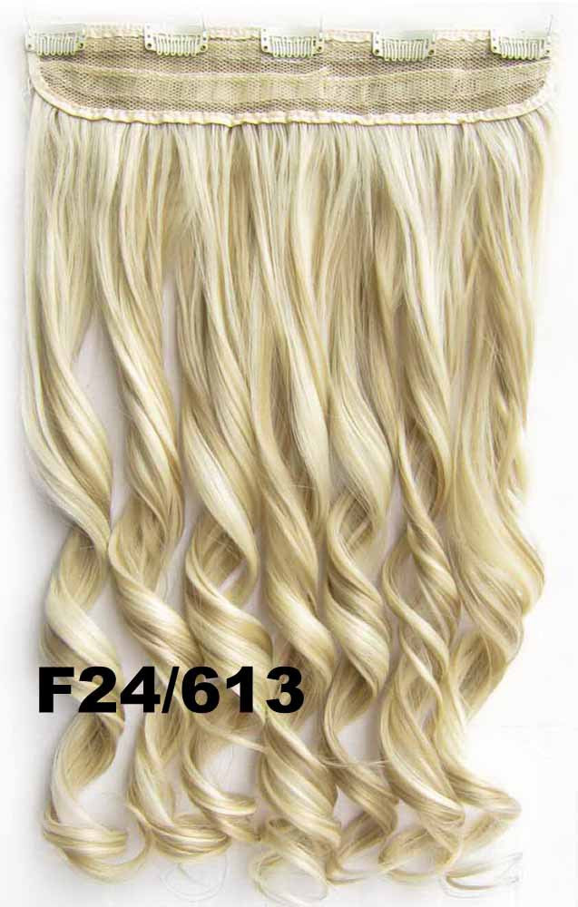 Clip in synthetic hair extension hairpieces 5 clips in on wavy slice hairpiece GS-888 F24/613,60cm,130grams,16 colors available 1pcs