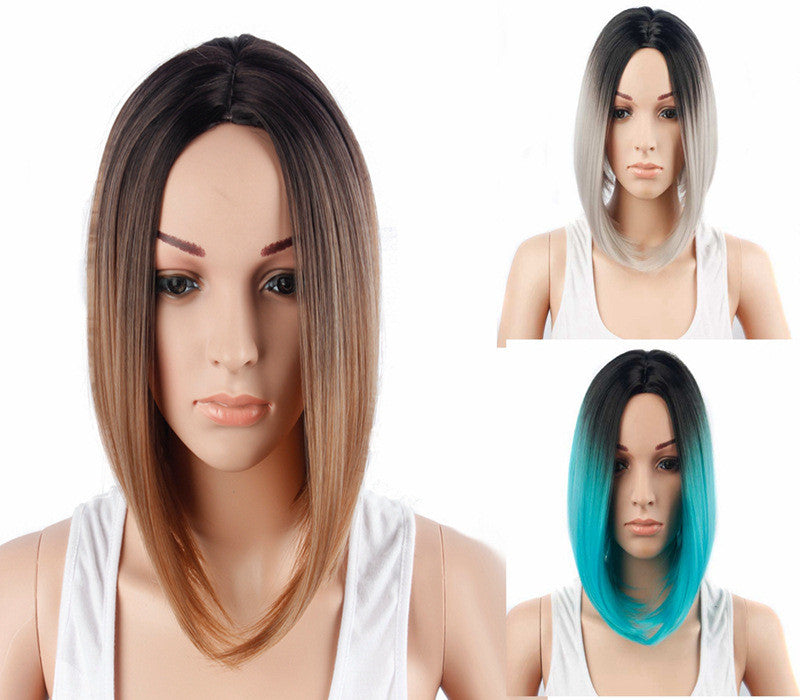 Women Lady Synthetic Hair Harajuku Gradient Short Straight Bob Wig WS101