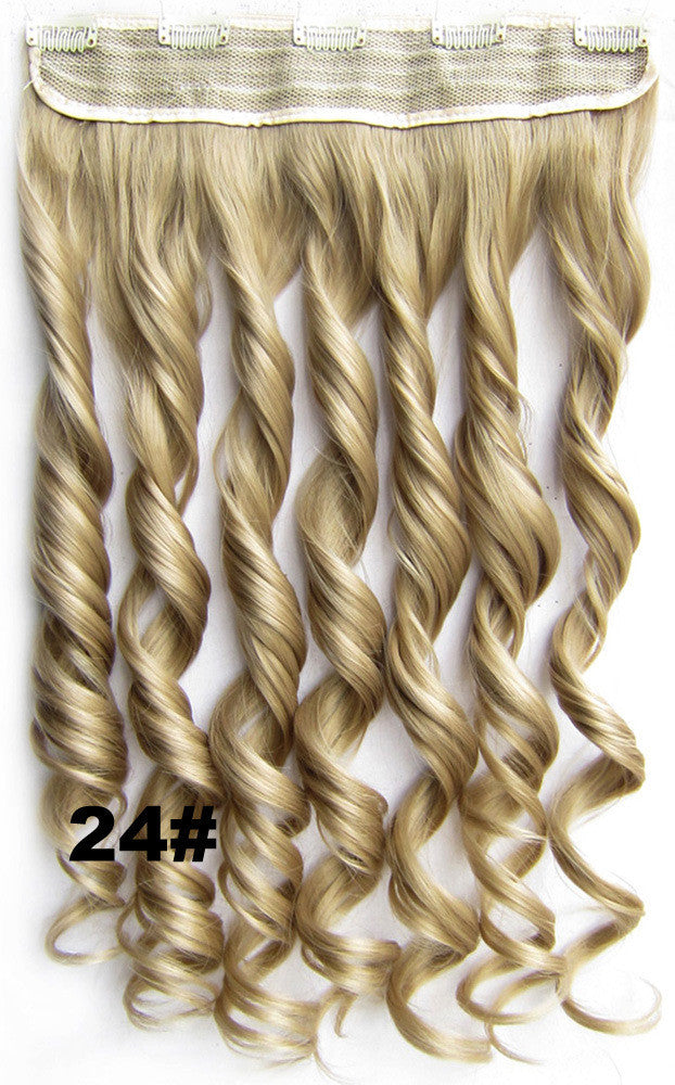 Clip in synthetic hair extension hairpieces 5 clips in on wavy slice hairpiece GS-888 24#,60cm,130grams,16 colors available 1pcs
