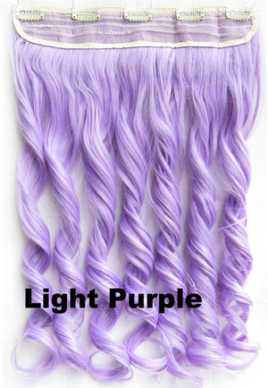 Light Purple Ombre Colorful Candy 5 Clip in Hair Extensions 1Weft=5pcs Body Wave Texture Hair Synthetic Hair Extension High Quality Wig
