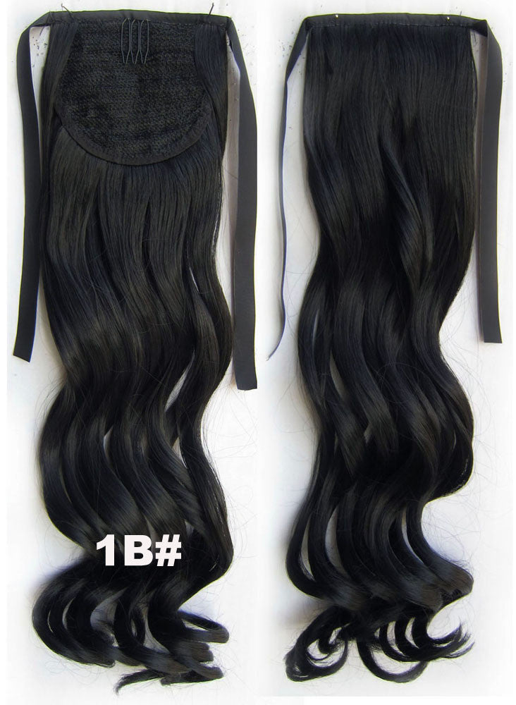 Curly synthetic hair extension,Ribbon ponytail synthetic hair extension Clip In on Hair Pony,Wavy Hairpiece,woman wigs,wig hairs,Accessories,Bath & Beauty RP-888 1B#