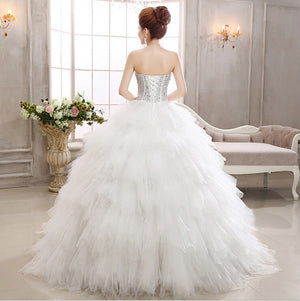 HOT new 2015 white princess fashionable thin feather rhinestone diamond wedding dress romantic tulle wedding dresses