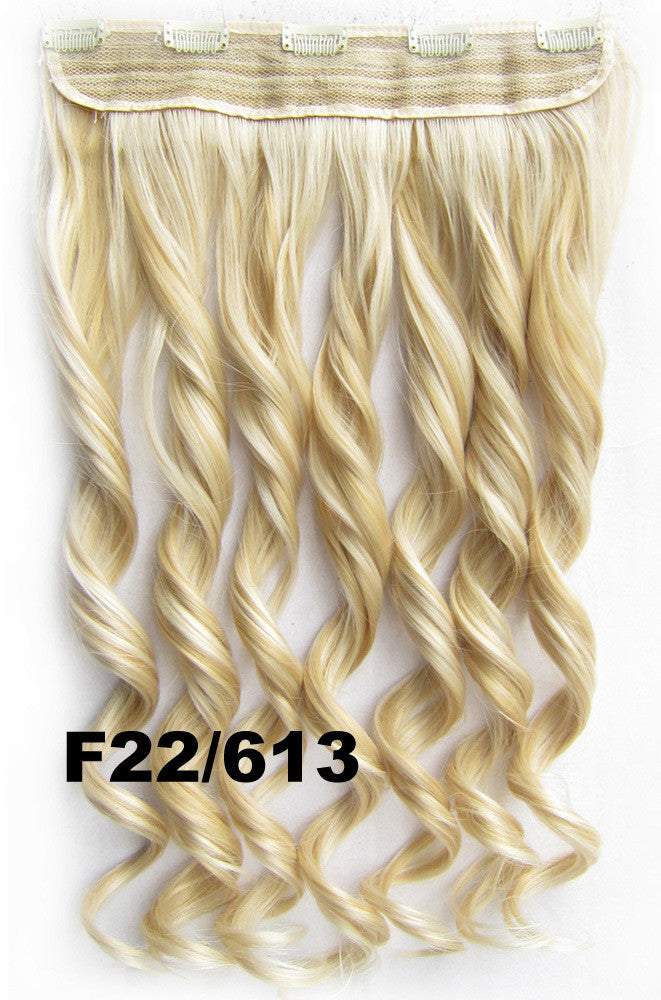 Clip in synthetic hair extension hairpieces 5 clips in on wavy slice hairpiece GS-888 F22/613,60cm,130grams,16 colors available 1pcs